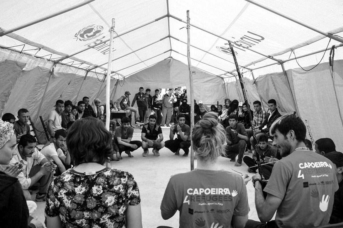 Capoeira4Refugees - Social Community Event with Music and Capoeira Play in Azraq Refugee Camp, Jordan
