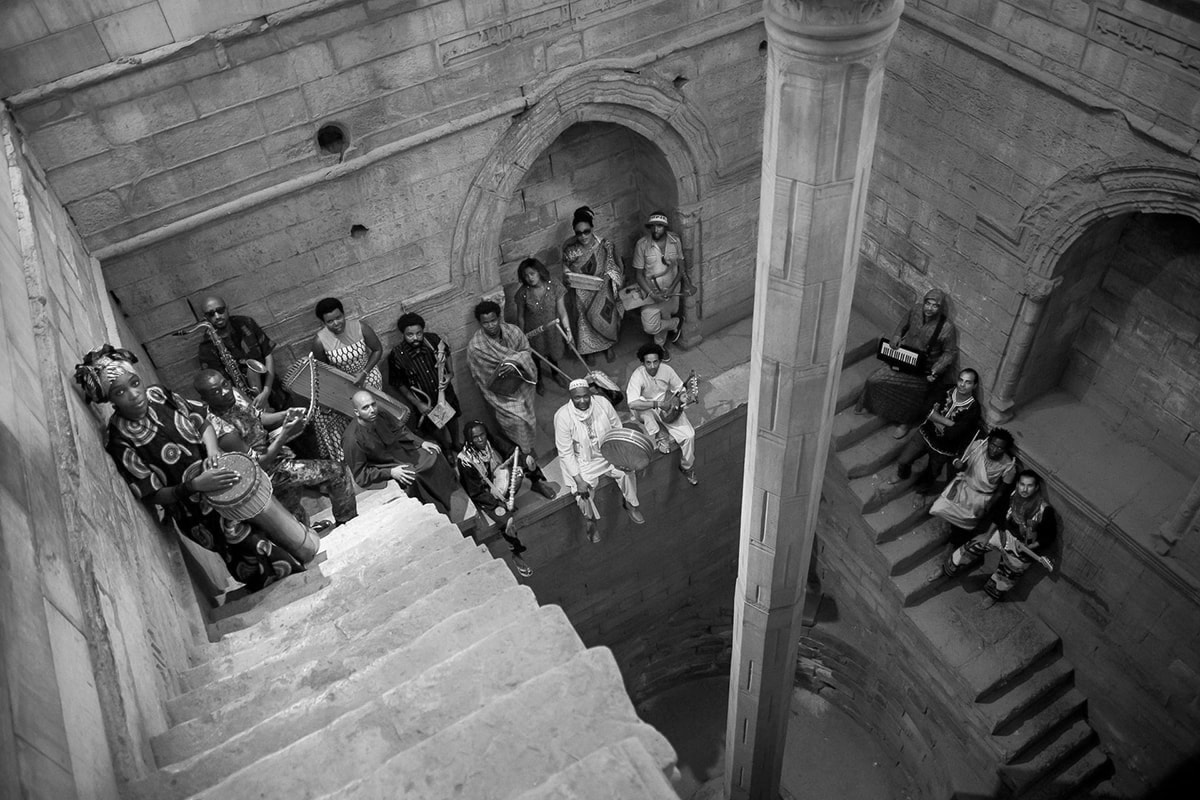 Nile Project team on a stairway