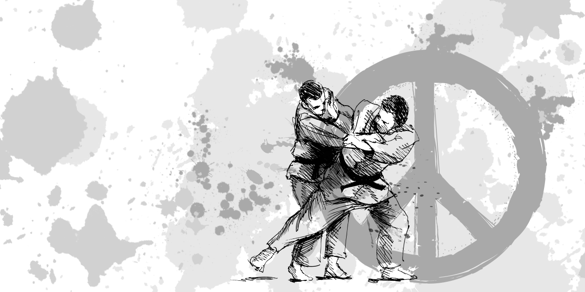 Two judokai fighting in front of a peace logo